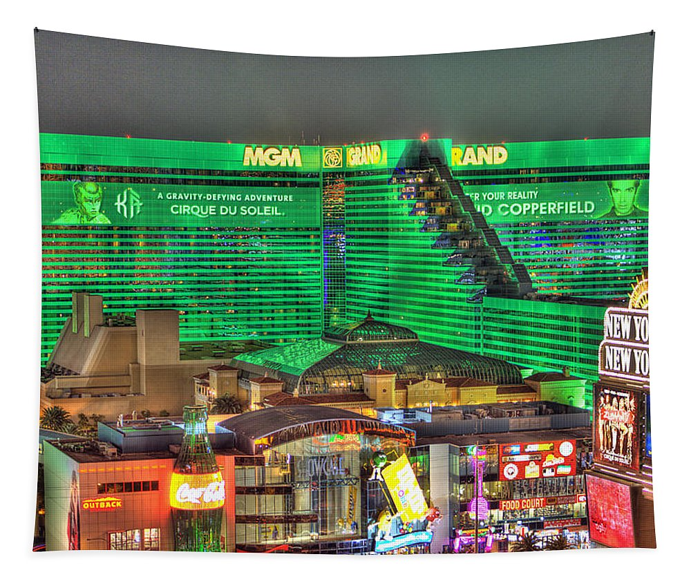 Mgm Grand Tapestry featuring the photograph MGM Grand Las Vegas by Nicholas Grunas