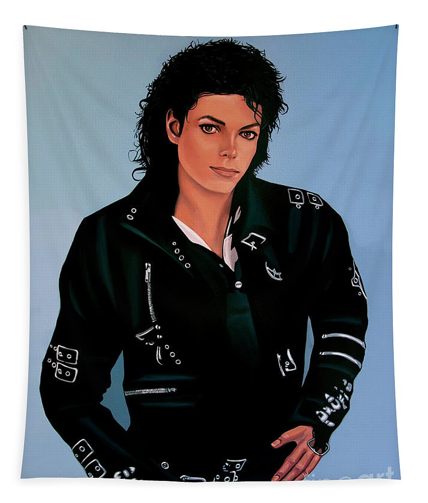 Michael Jackson Tapestry featuring the painting Michael Jackson Bad by Paul Meijering