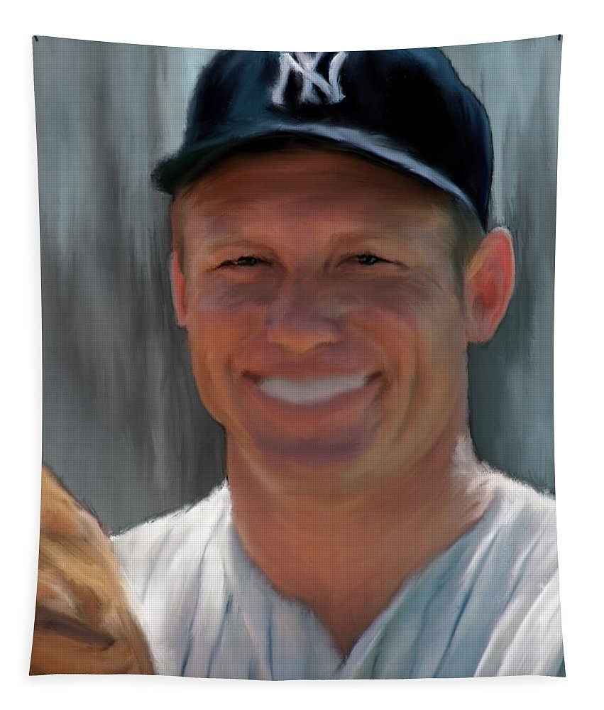 Yankees Tapestry featuring the painting Mickey Mantle by Jack Bunds