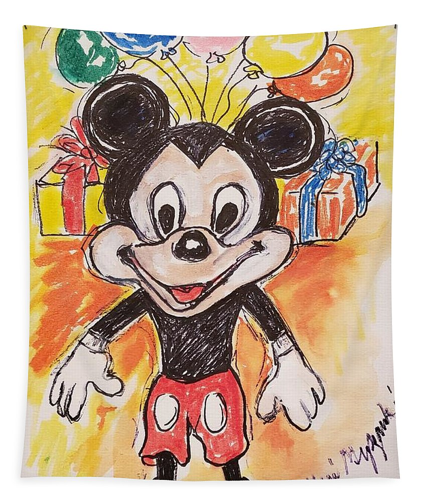 Mickey Mouse Tapestry featuring the mixed media Mickey Mouse 90th Birthday Celebration by Geraldine Myszenski