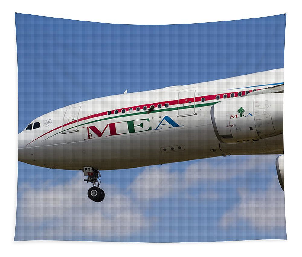 London Tapestry featuring the photograph Middle Eastern Airlines Airbus A330 by David Pyatt