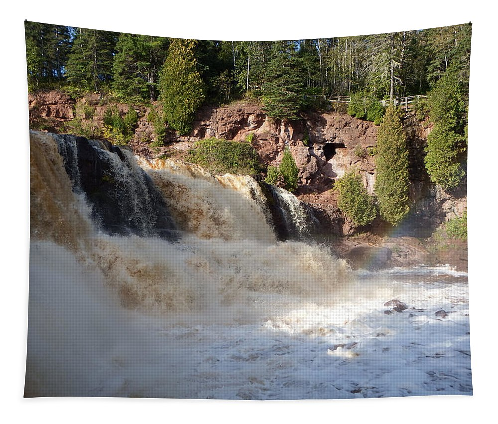 Waterfalls Tapestry featuring the photograph Rainbow In The Mist by Alison Gimpel