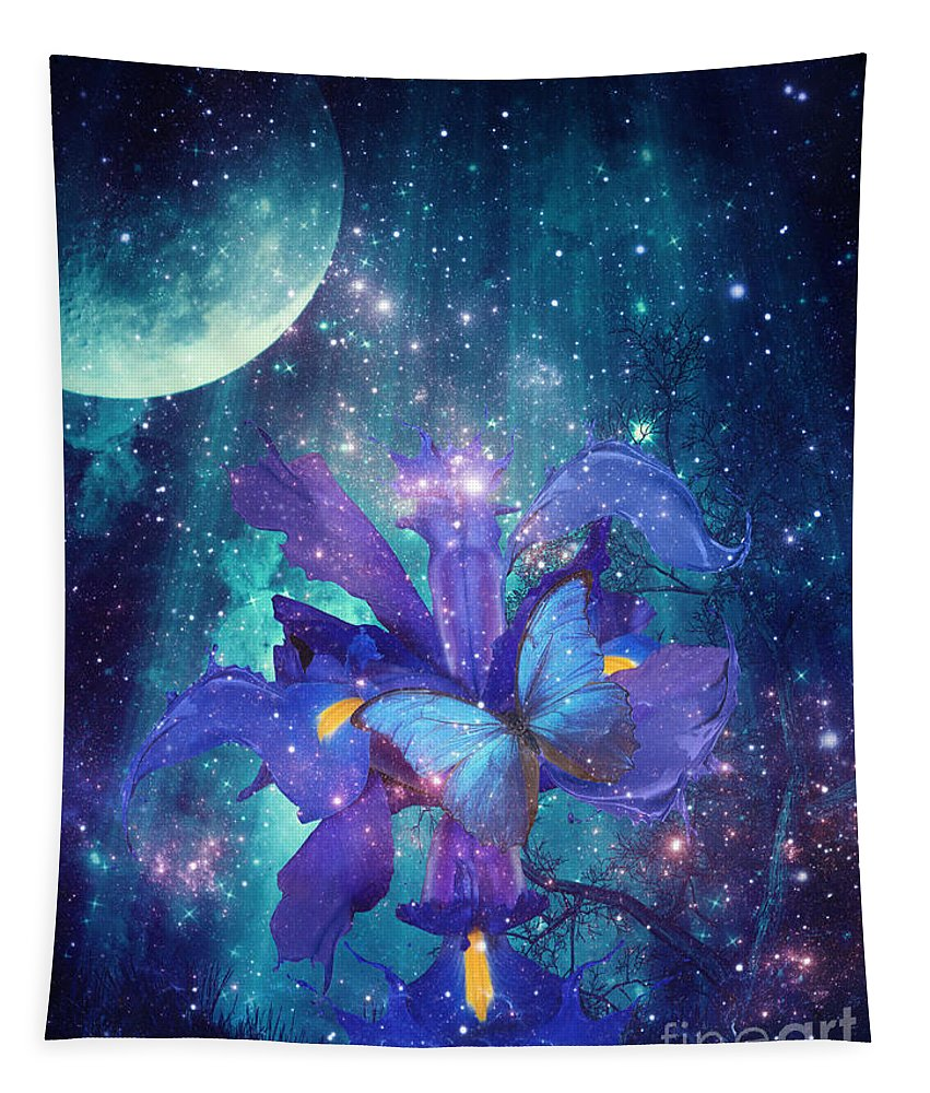 Midnight Butterfly Tapestry featuring the digital art Midnight Butterfly by Mo T