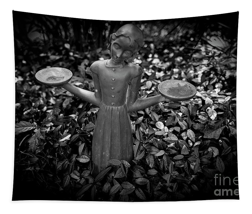 Statue Tapestry featuring the photograph Midnight In The Garden by Dale Powell