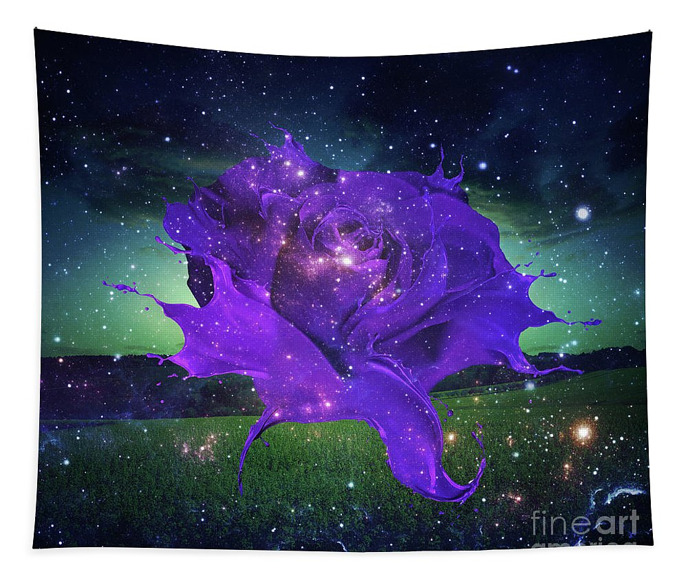Rose Tapestry featuring the digital art Midnight Rose by Mo T