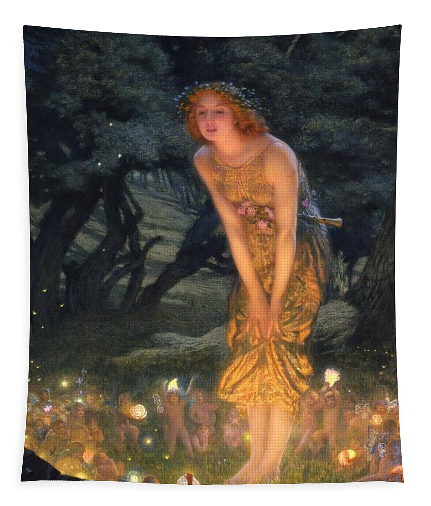 Pre Raphaelite Tapestry featuring the painting Midsummer Eve by Edward Robert Hughes