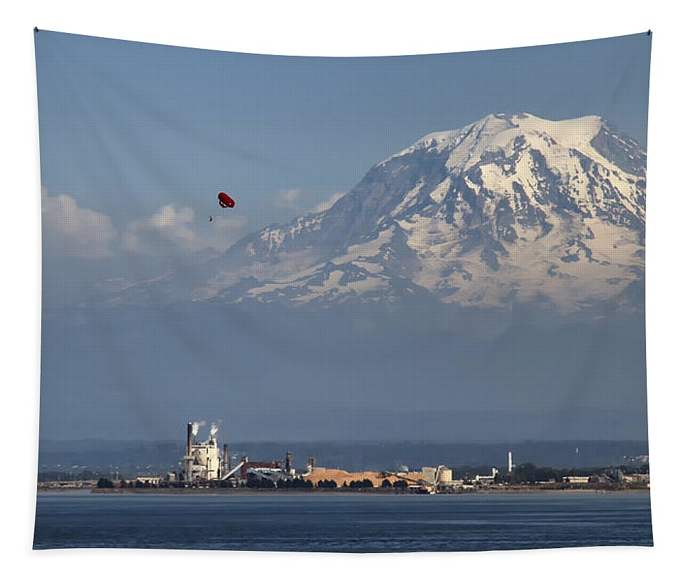 Mount Ranier Tapestry featuring the photograph Mighty Ranier by Debby Richards