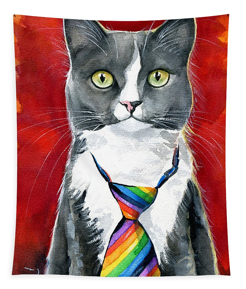 Cat Tapestry featuring the painting Mika - Gray Tuxedo Cat Painting by Dora Hathazi Mendes