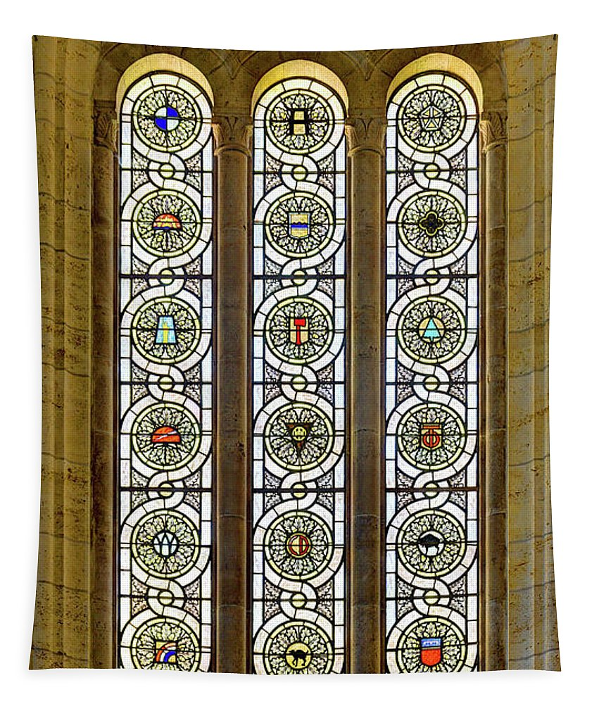 Military Tapestry featuring the photograph Military Insignia On Stained Glass - Meuse Argonne - East by Weston Westmoreland