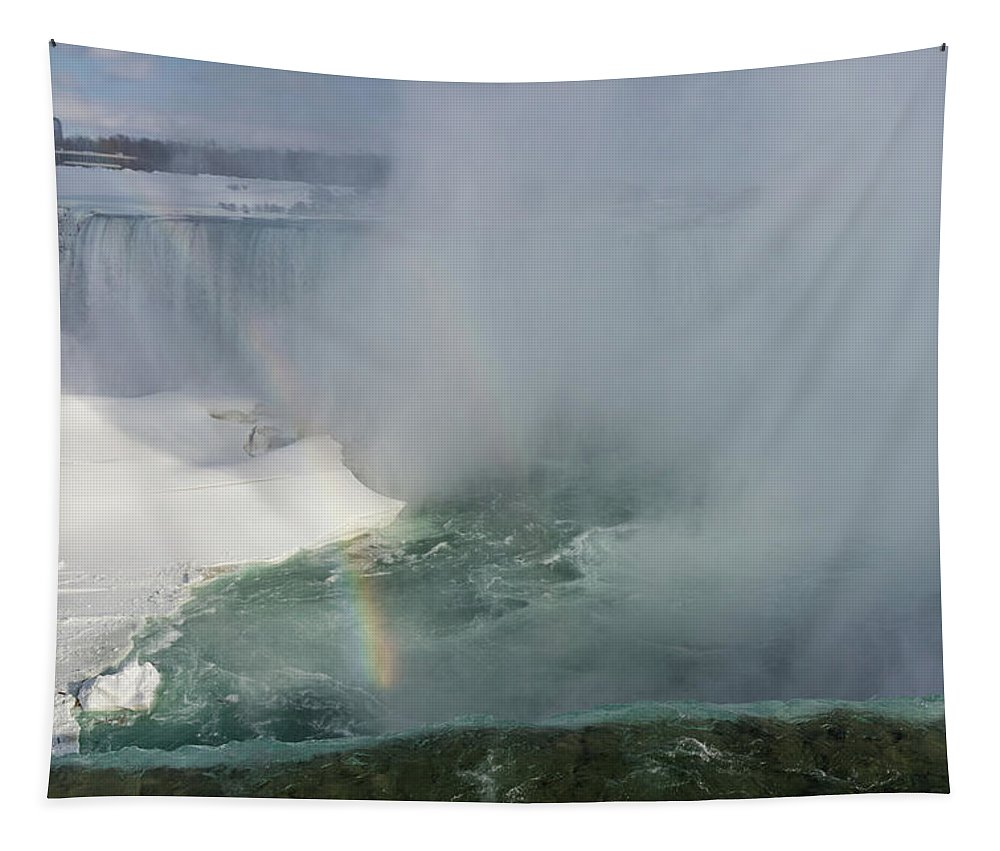 Georgia Mizuleva Tapestry featuring the photograph Milky Mist And Double Rainbows - Glorious Niagara Falls by Georgia Mizuleva