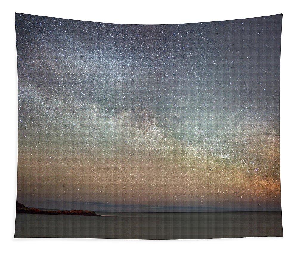 Milky Way Tapestry featuring the photograph Milky Way Rising by Jatinkumar Thakkar