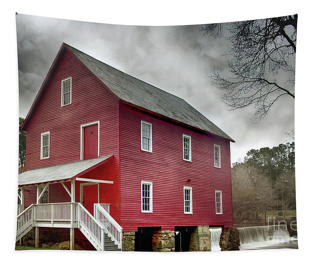 Nature Tapestry featuring the photograph Mill At Whitewater Cree by Tom Gari Gallery-Three-Photography