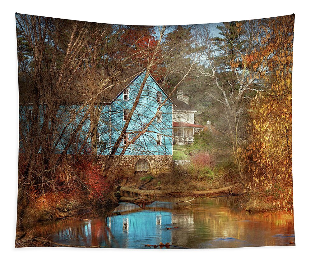 Walnford Nj Tapestry featuring the photograph Mill - Walnford, Nj - Walnford Mill by Mike Savad