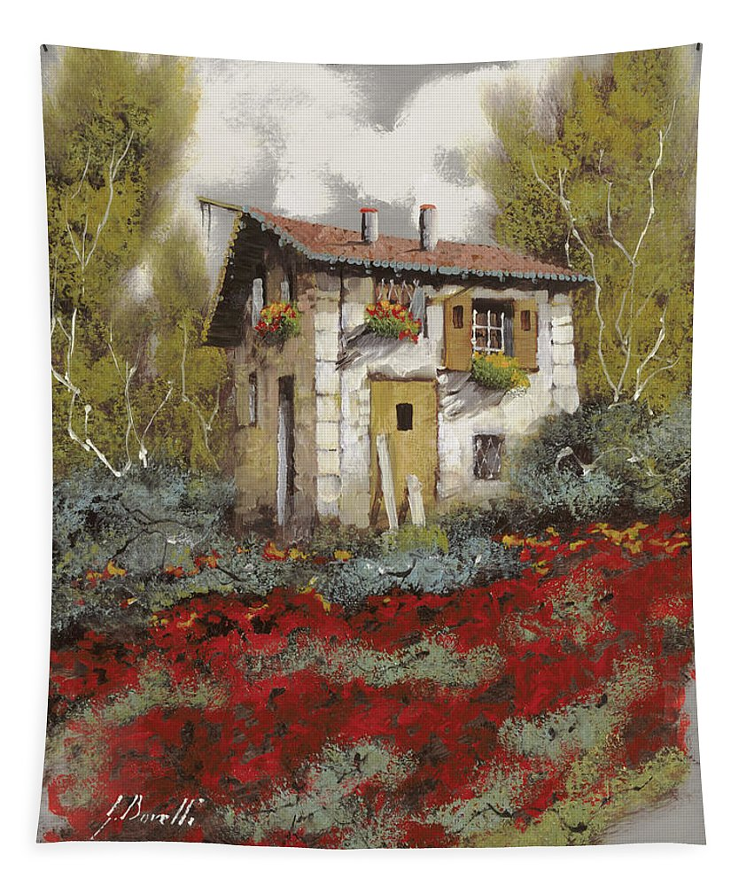 Landscape Tapestry featuring the painting Mille Papaveri by Guido Borelli