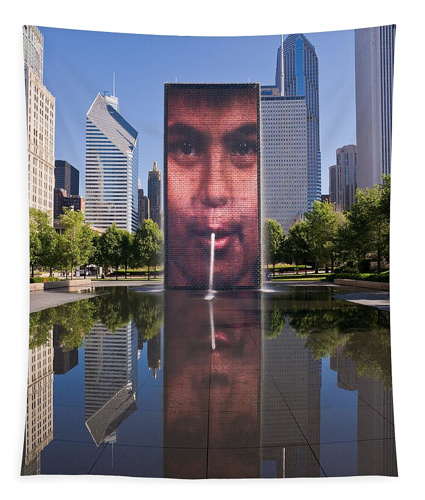 Art Tapestry featuring the photograph Millennium Park Fountain And Chicago Skyline by Steve Gadomski