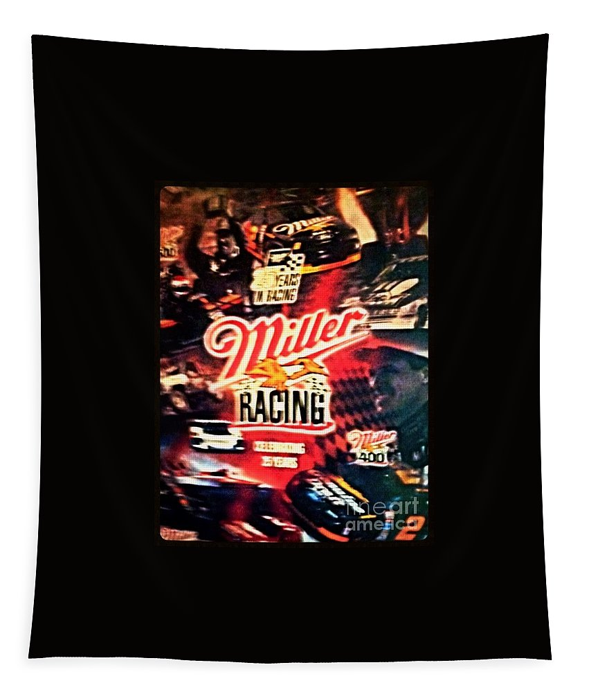Miller Tapestry featuring the photograph Miller Racing Sign 25th Year by Debra Lynch
