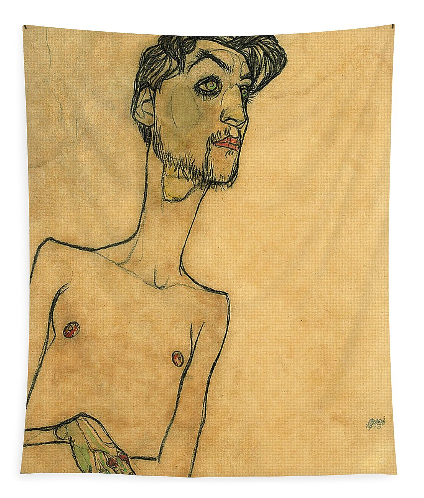 Schiele Tapestry featuring the drawing Mime Van Osen by Egon Schiele