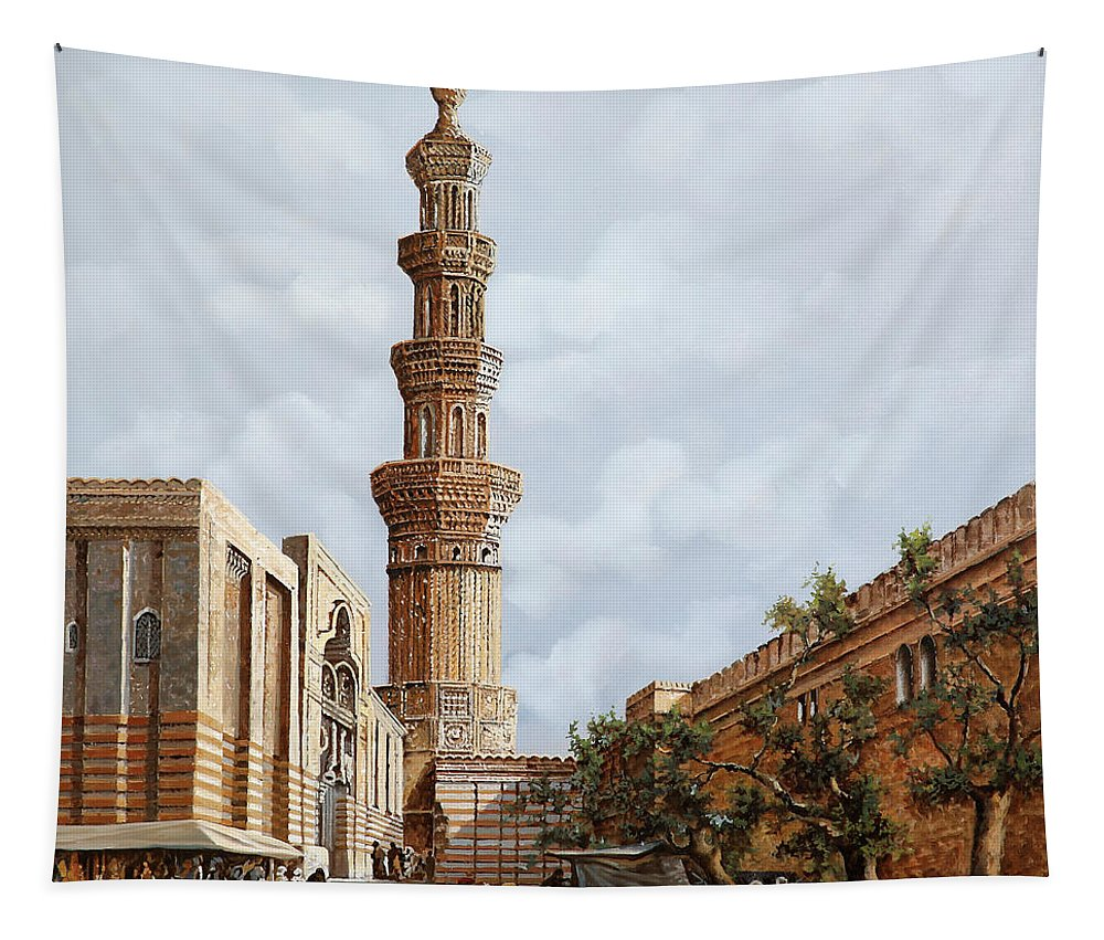 Copy Of A Master Tapestry featuring the painting Minareto E Mercato by Guido Borelli