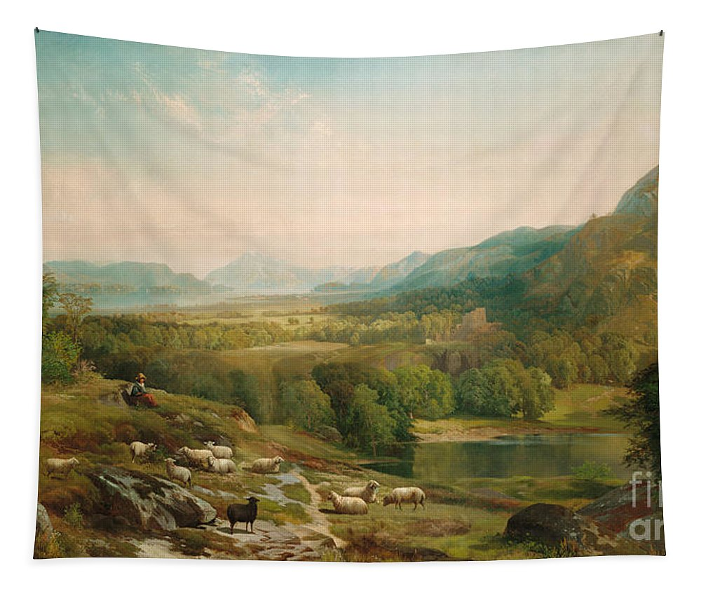 Thomas Moran Tapestry featuring the painting Minding The Flock by Thomas Moran
