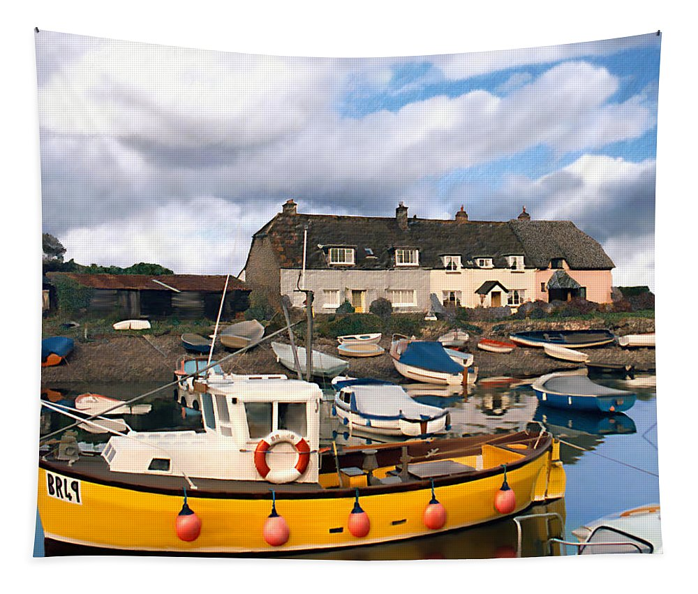Harbor Tapestry featuring the photograph Minehead Sommerset by Kurt Van Wagner