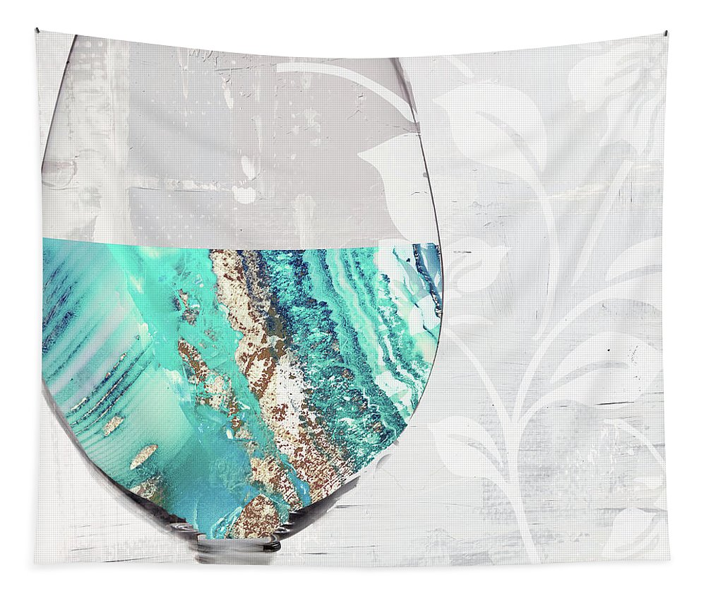 Blue Wine Tapestry featuring the painting Mineral Water by Mindy Sommers