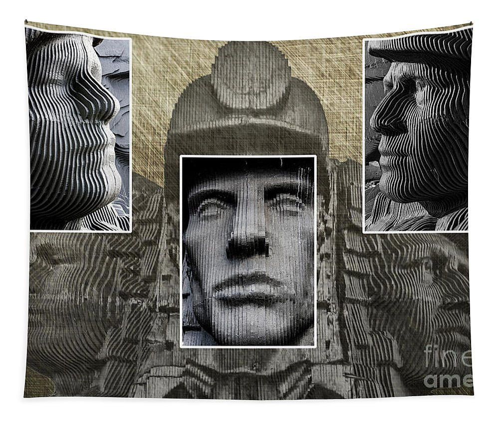 Miners Triptych Tapestry featuring the photograph Miners Triptych by Steve Purnell