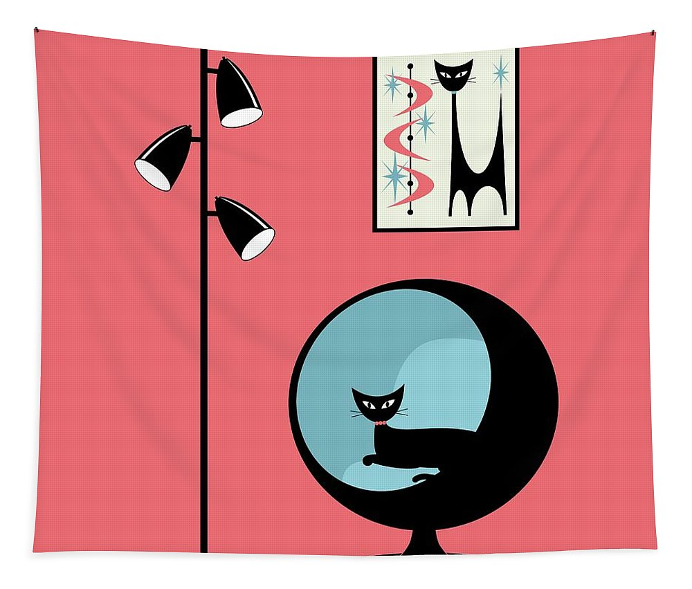 Mid Century Modern Tapestry featuring the digital art Shower Curtain Mini Atomic Cat On Pink by Donna Mibus