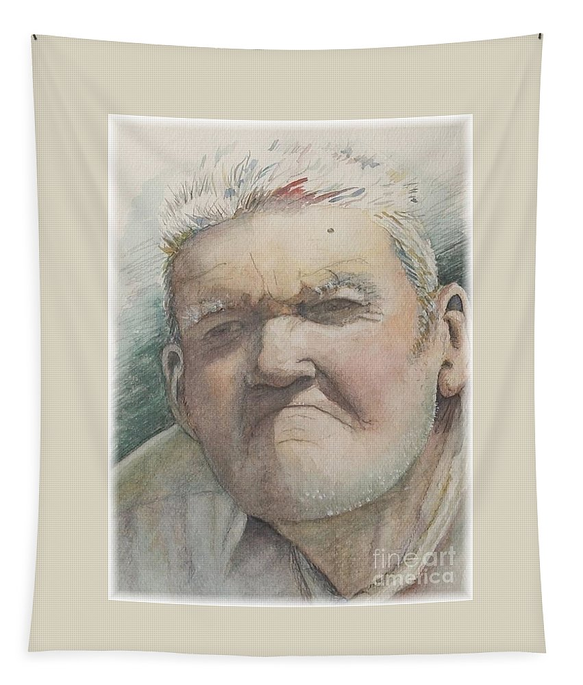Portrait Tapestry featuring the painting Minnesota Farmer by Nadine Rippelmeyer