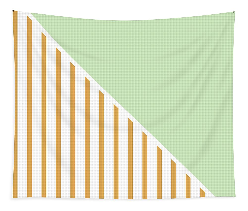 Mint Tapestry featuring the digital art Mint and Gold Geometric by Linda Woods