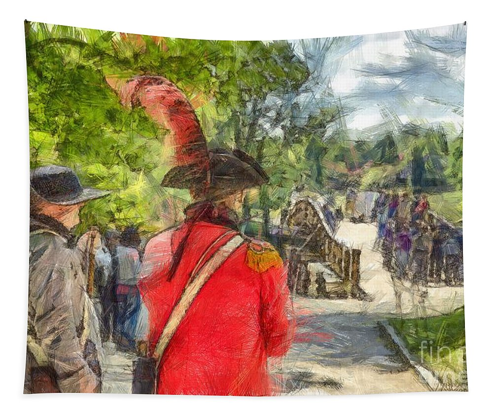 Minuteman Tapestry featuring the photograph Minuteman And Redcoat Concord Ma Pencil by Edward Fielding
