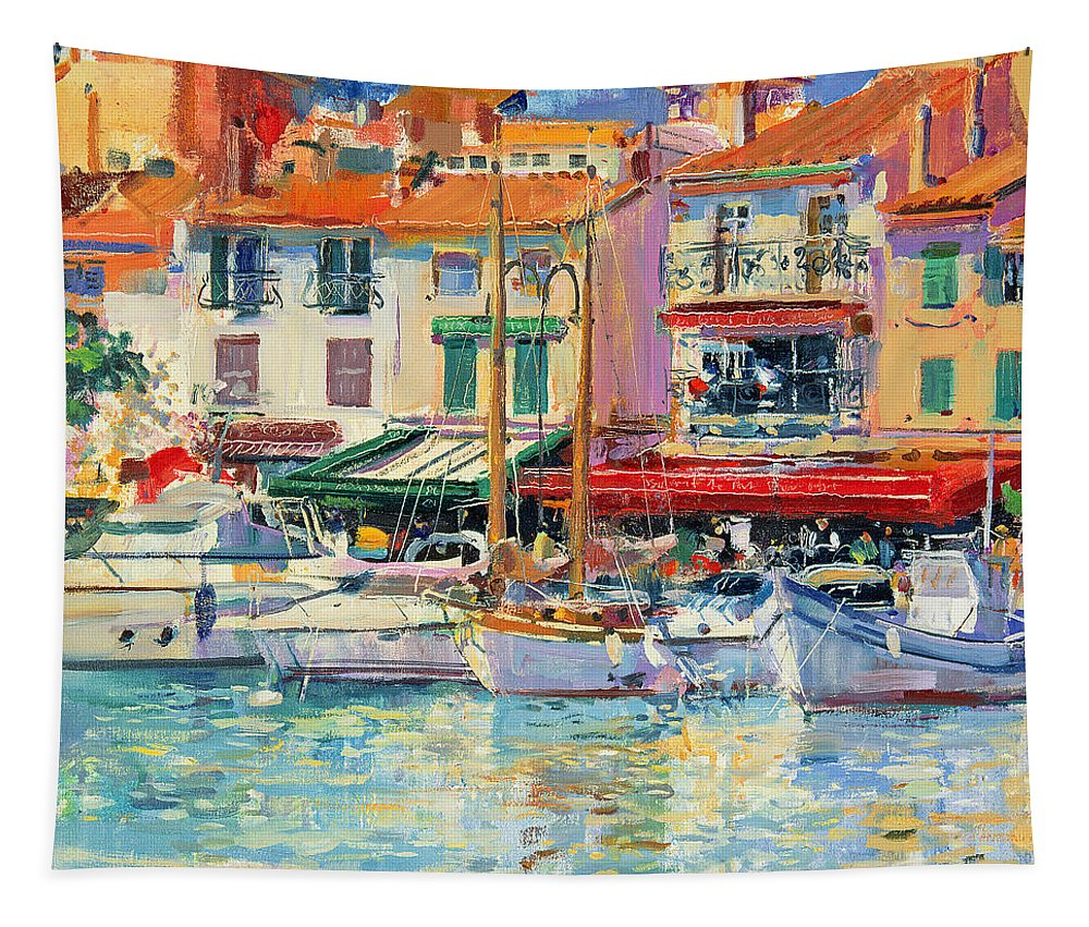 Pier Tapestry featuring the painting Mirabeau by Peter Graham