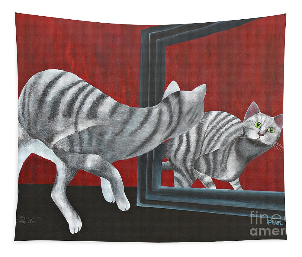 Acrylic Tapestry featuring the painting Mirror Image by Jutta Maria Pusl