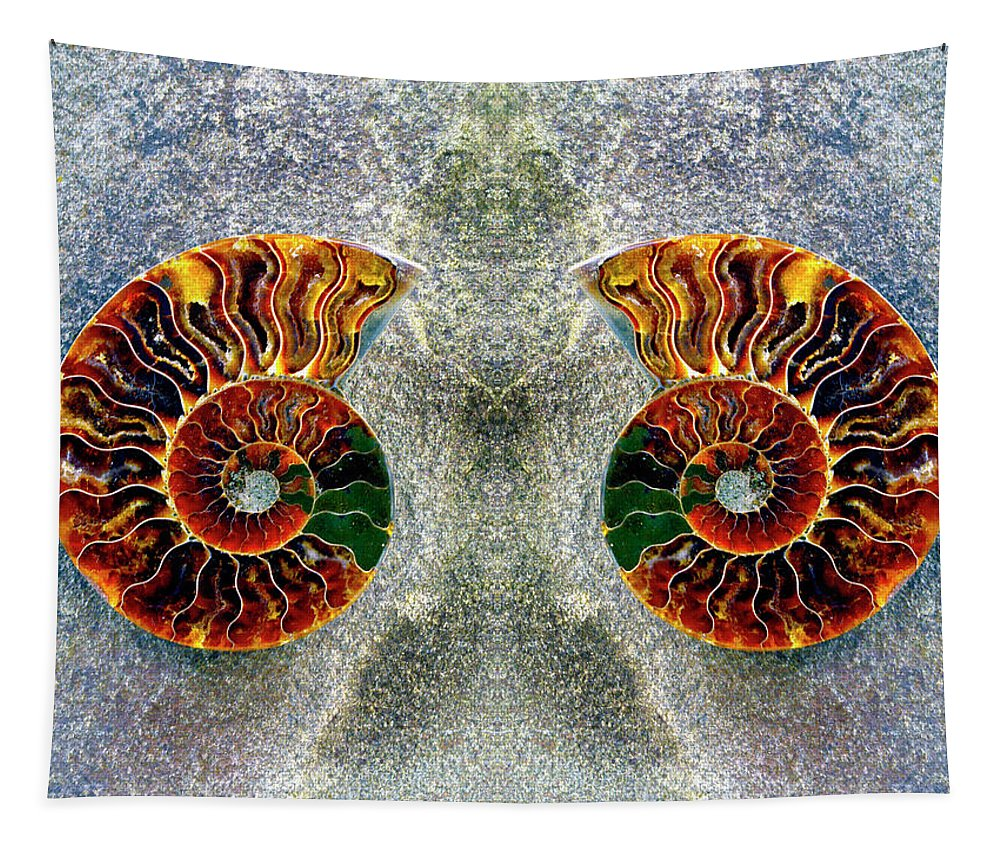 Ammonite Tapestry featuring the photograph Mirrored Ammomite - 8305 by Paul W Faust - Impressions of Light