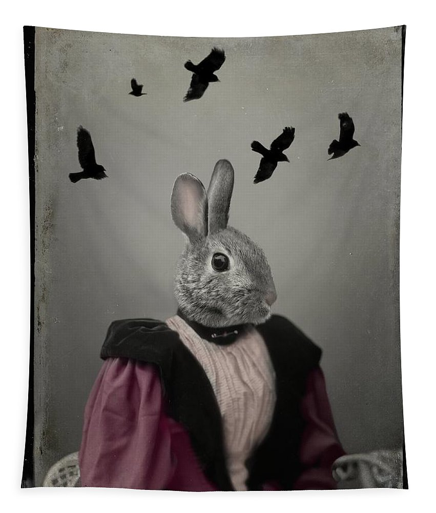Rabbit Tapestry featuring the photograph Miss Bunny And Crows by Gothicrow Images