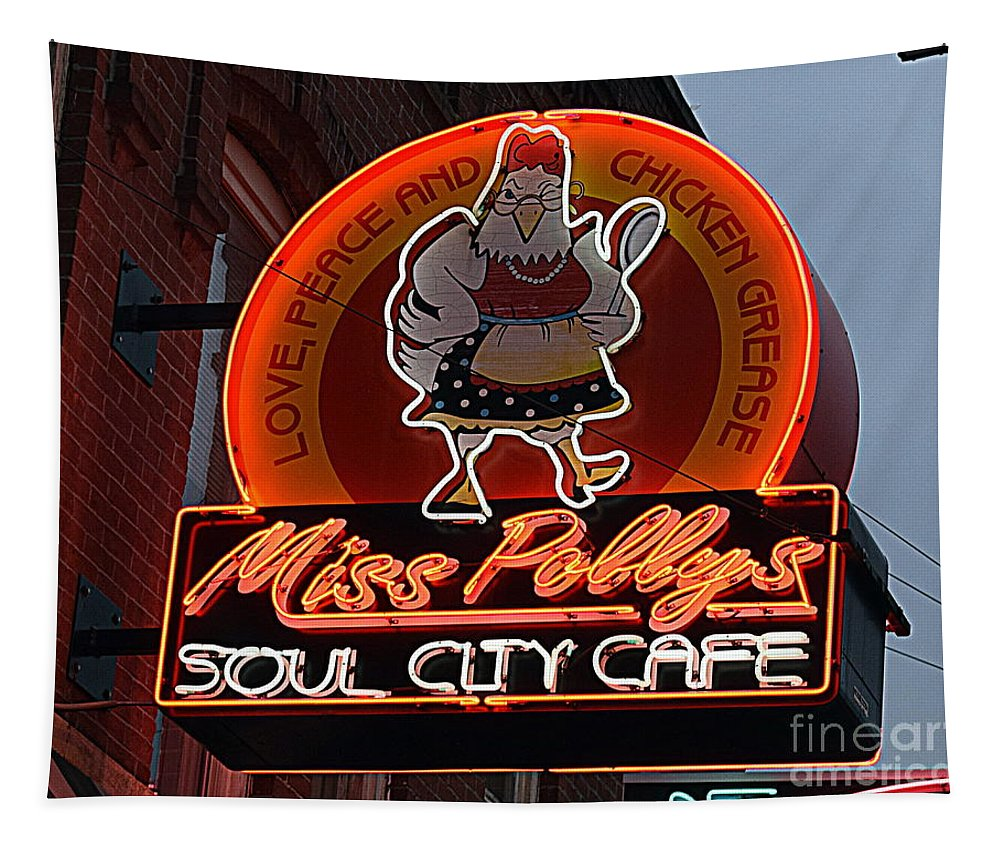 Memphis Tapestry featuring the photograph Miss Polly's Soul City Cafe by Betsy Warner