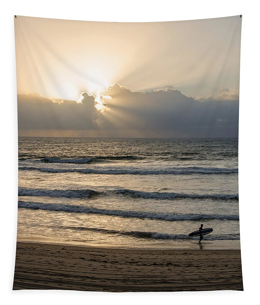 Mission Beach Surfer Tapestry featuring the photograph Mission Beach Surfer by Susan McMenamin