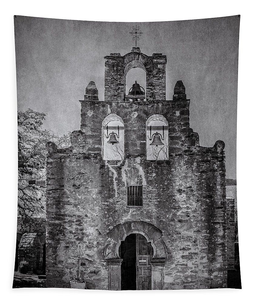 Adobe Tapestry featuring the photograph Mission Espada Bw by Teresa Wilson