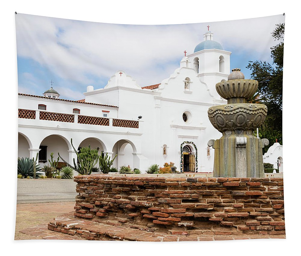 Mission San Luis Rey Tapestry featuring the photograph Mission San Luis Rey by Robert VanDerWal