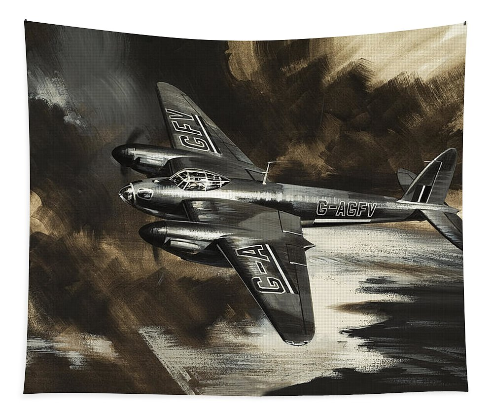 Aeroplane Tapestry featuring the painting Mission To Danger by Wilf Hardy