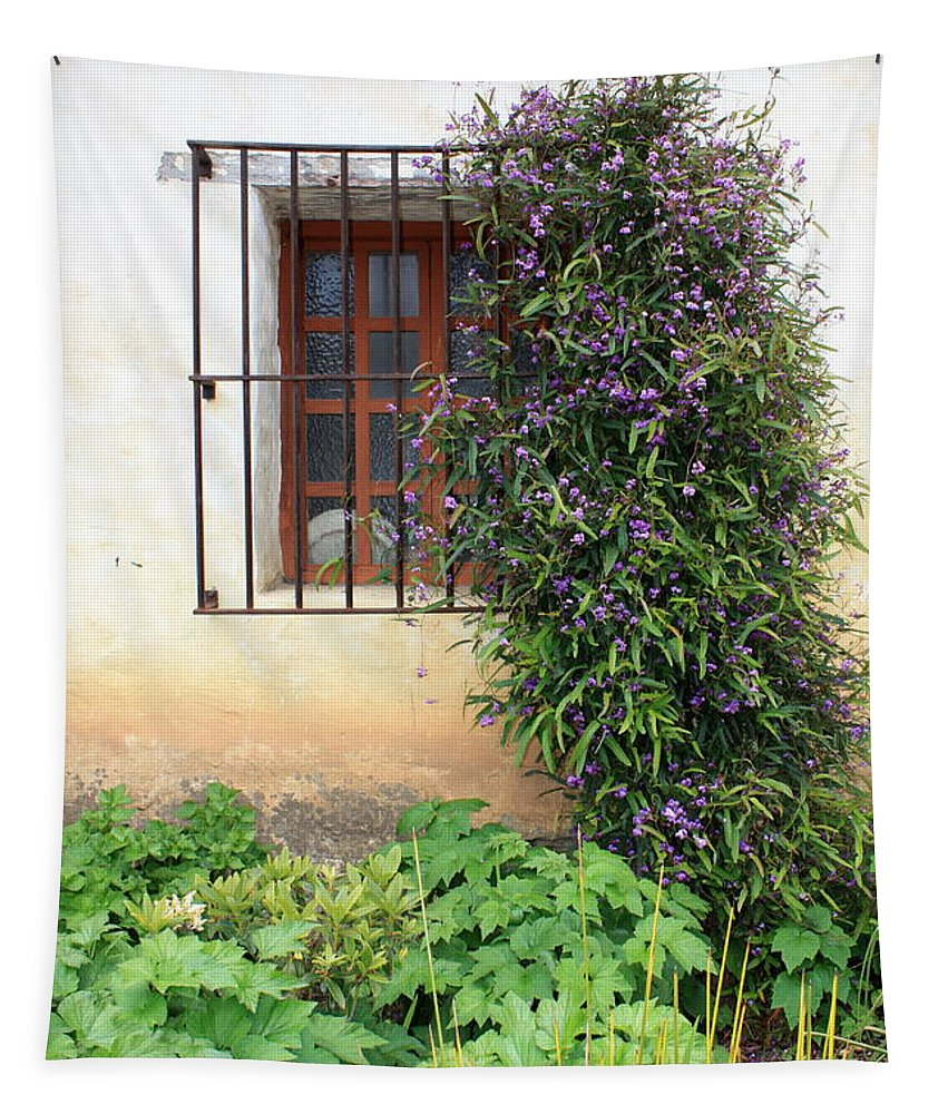 Mission Tapestry featuring the photograph Mission Window With Purple Flowers Vertical by Carol Groenen