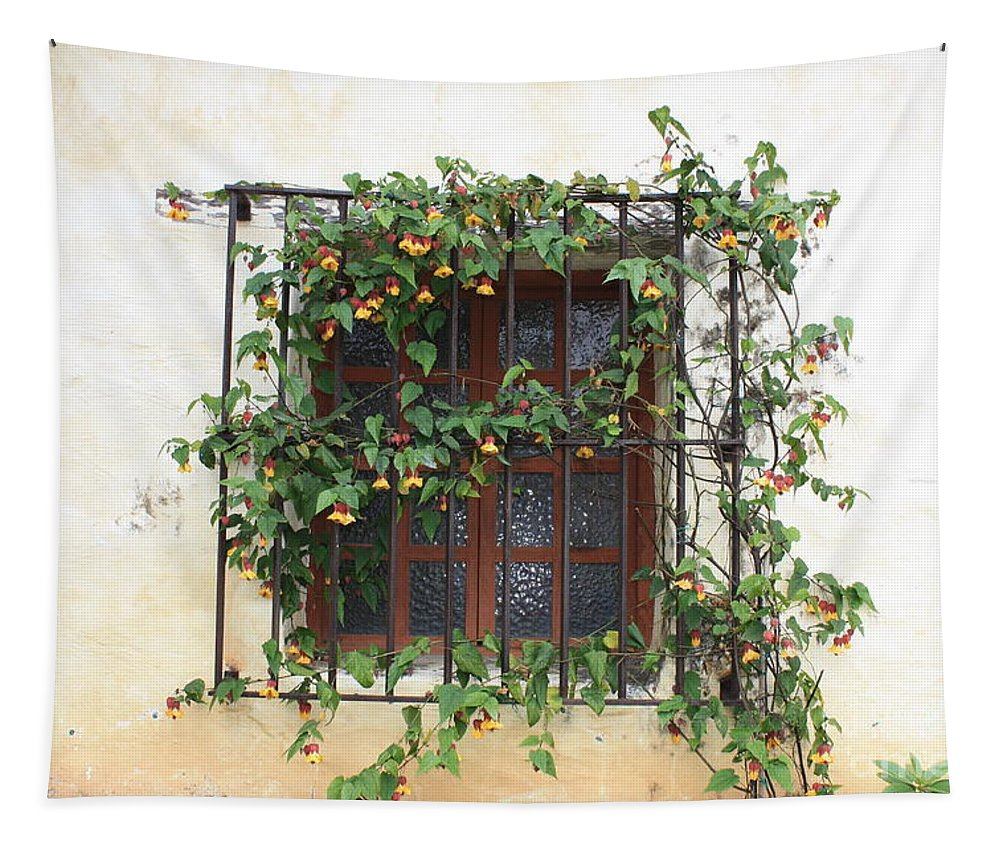 Window Tapestry featuring the photograph Mission Window With Yellow Flowers by Carol Groenen