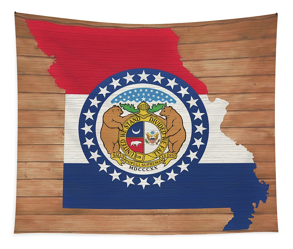 Missouri Rustic Map On Wood Tapestry featuring the mixed media Missouri Rustic Map On Wood by Dan Sproul