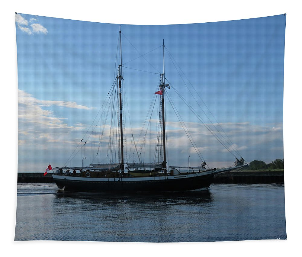 Tall Ships Tapestry featuring the photograph Mist Of Avalon by Alison Gimpel