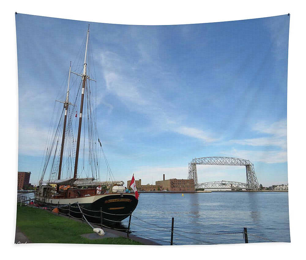 Tall Ships Tapestry featuring the photograph Mist Of Avalon Lift Bridge by Alison Gimpel