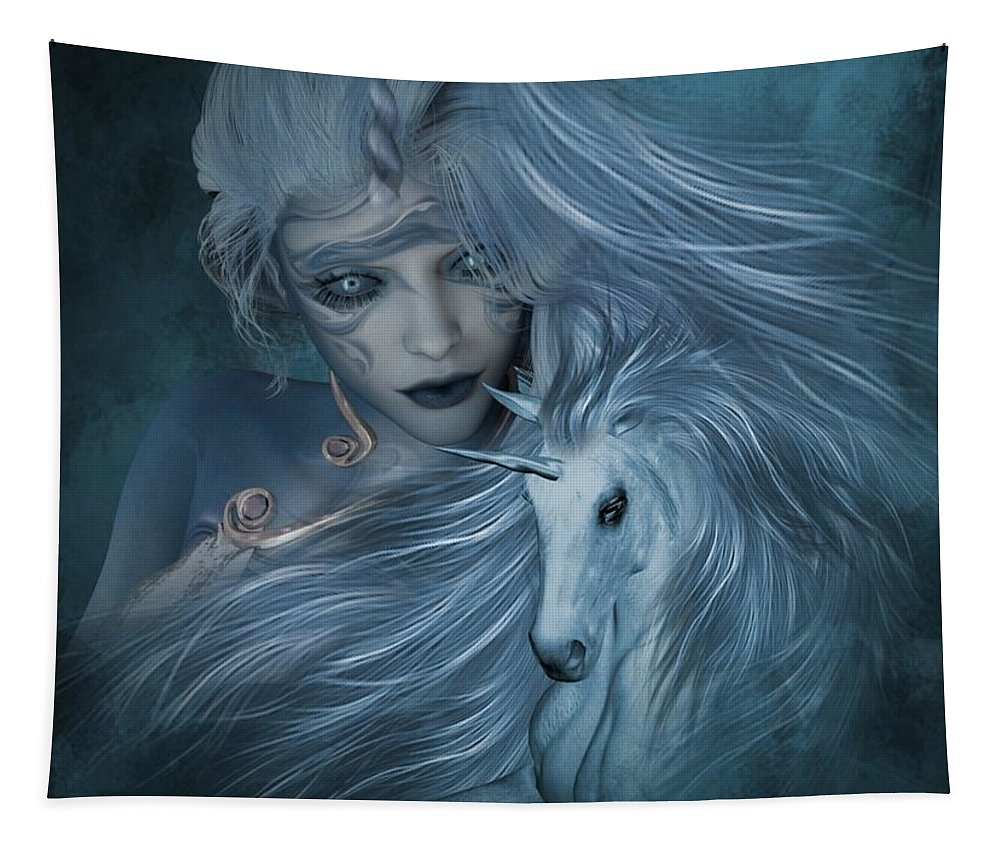 Fantasy Tapestry featuring the digital art Misty Blue by Ali Oppy