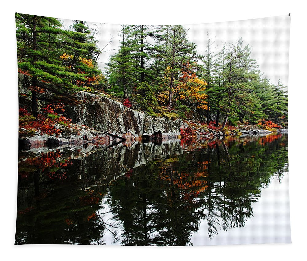 French River Tapestry featuring the photograph Misty Fall by Debbie Oppermann