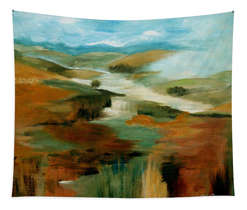 Abstract Tapestry featuring the painting Misty Hills by Ruth Palmer