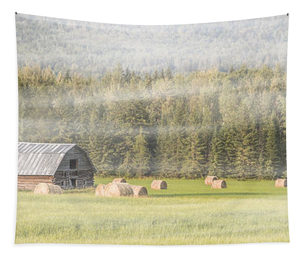 Hay Tapestry featuring the photograph Misty Morning Haybales by Patti Deters