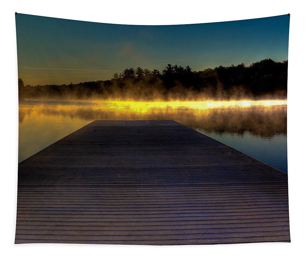 Misty Sunrise On Old Forge Pond Tapestry featuring the photograph Misty Sunrise On Old Forge Pond by David Patterson