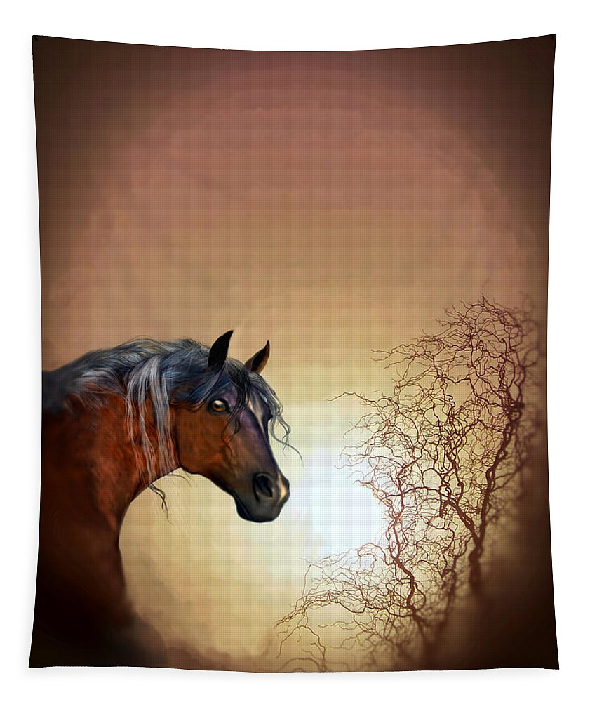 Animal Art Tapestry featuring the painting Misty by Valerie Anne Kelly